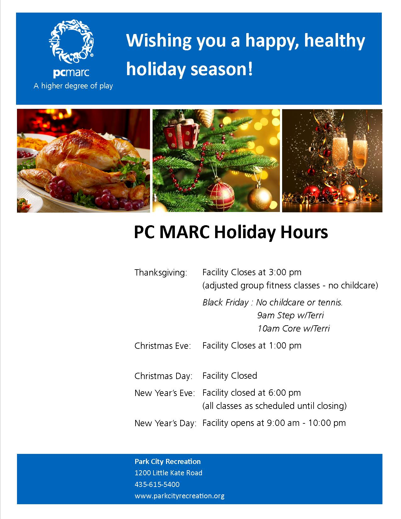 Holiday Hours at the MARC