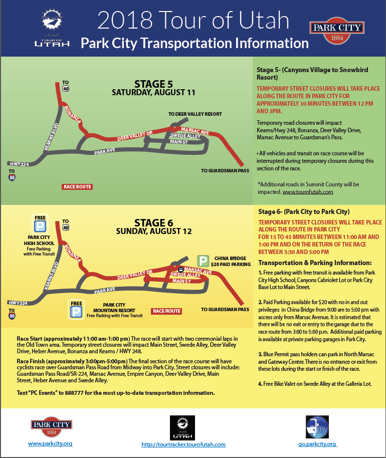 2018 Tour of Utah Park City Transportation Information