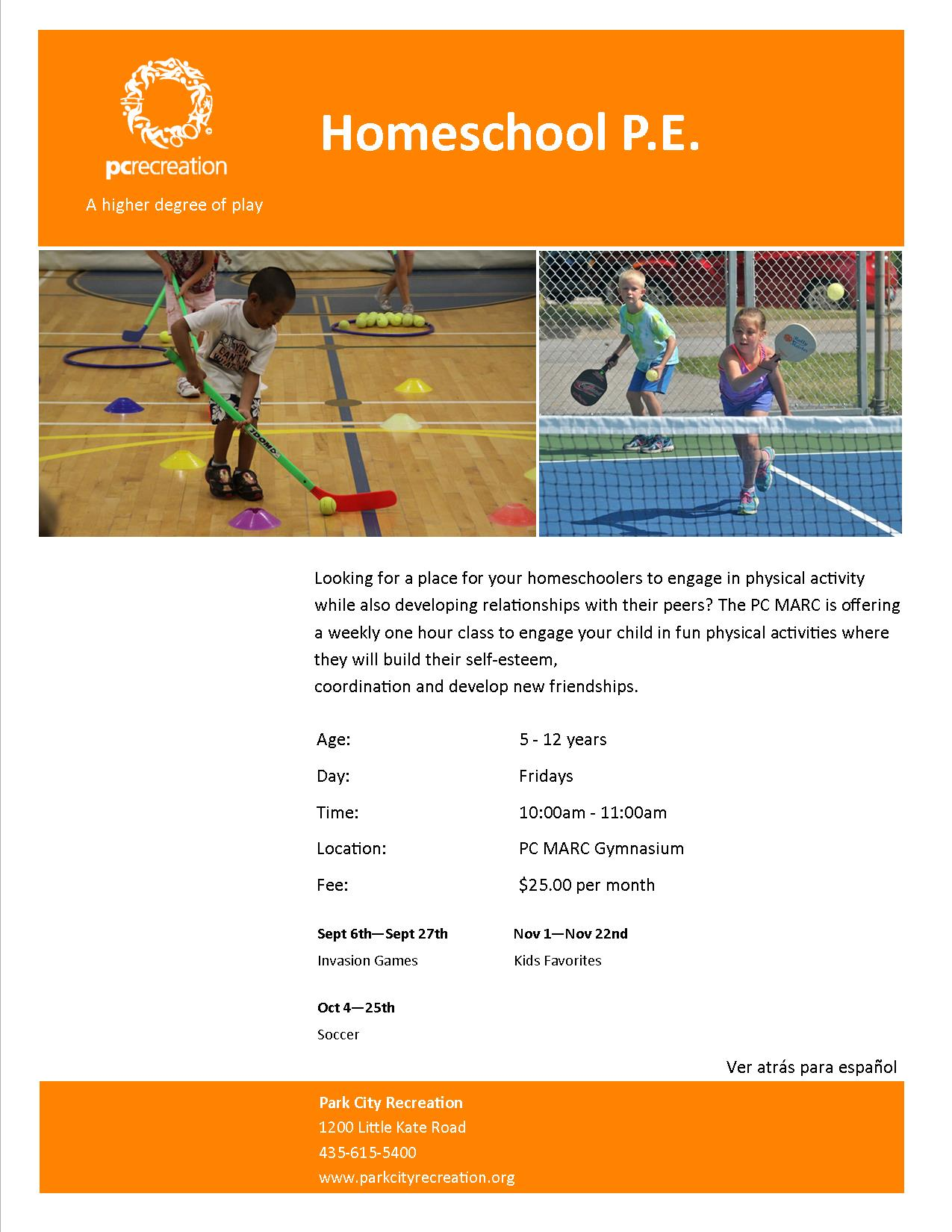 homeschool pe flyer