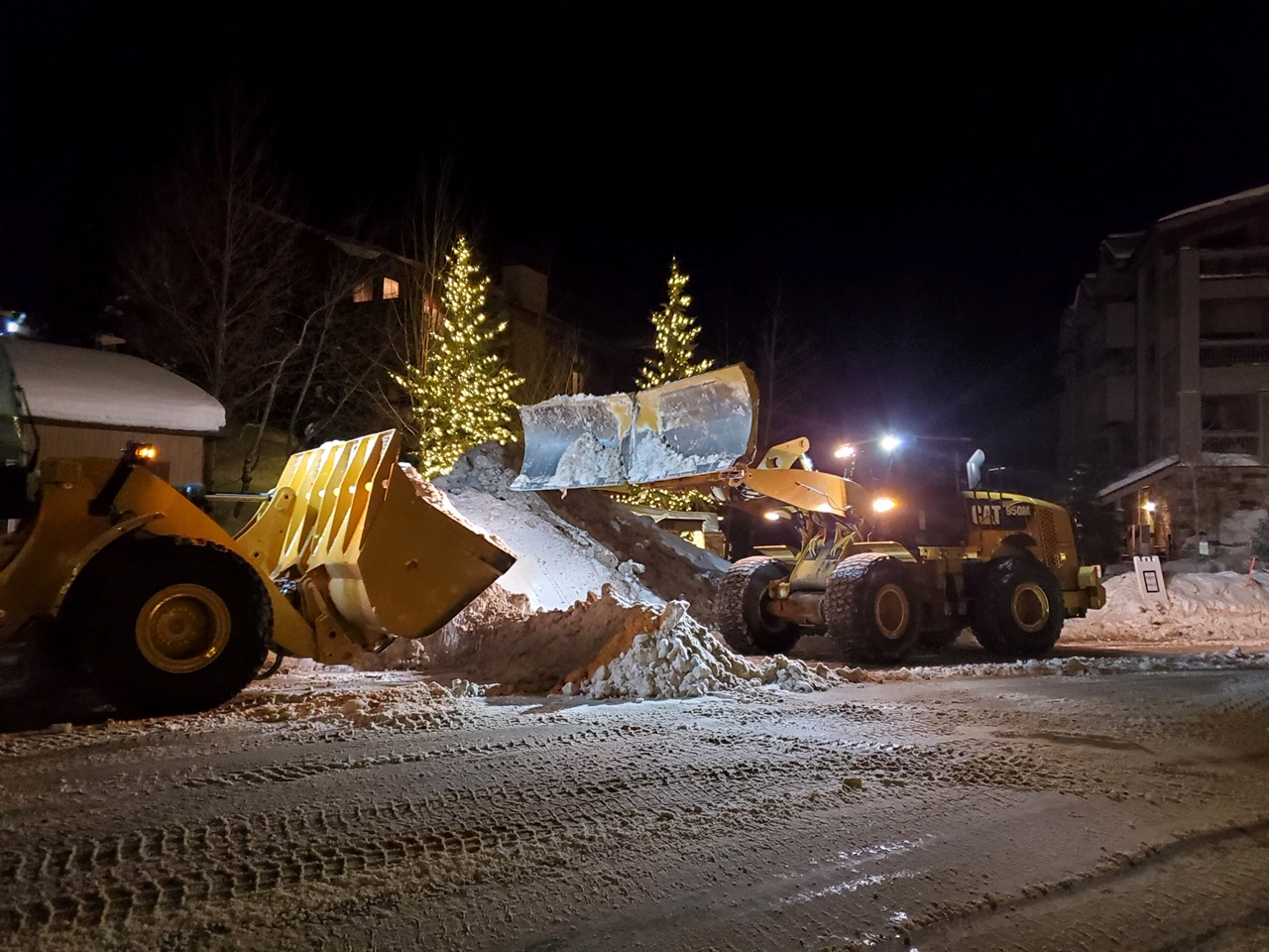 Heavy Machiner Snow Hauling