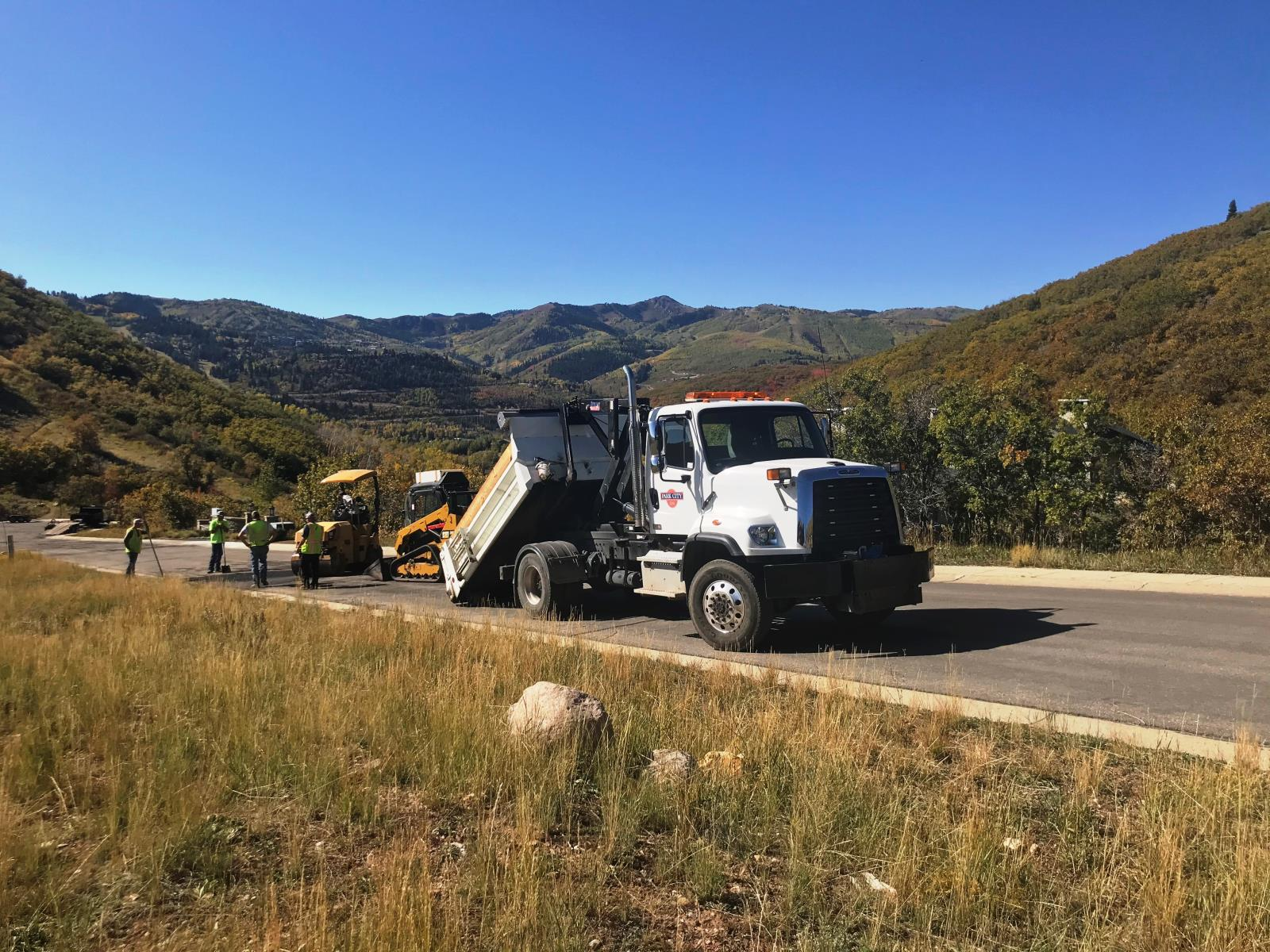 Upper Deer Valley Road Work with large dump truck