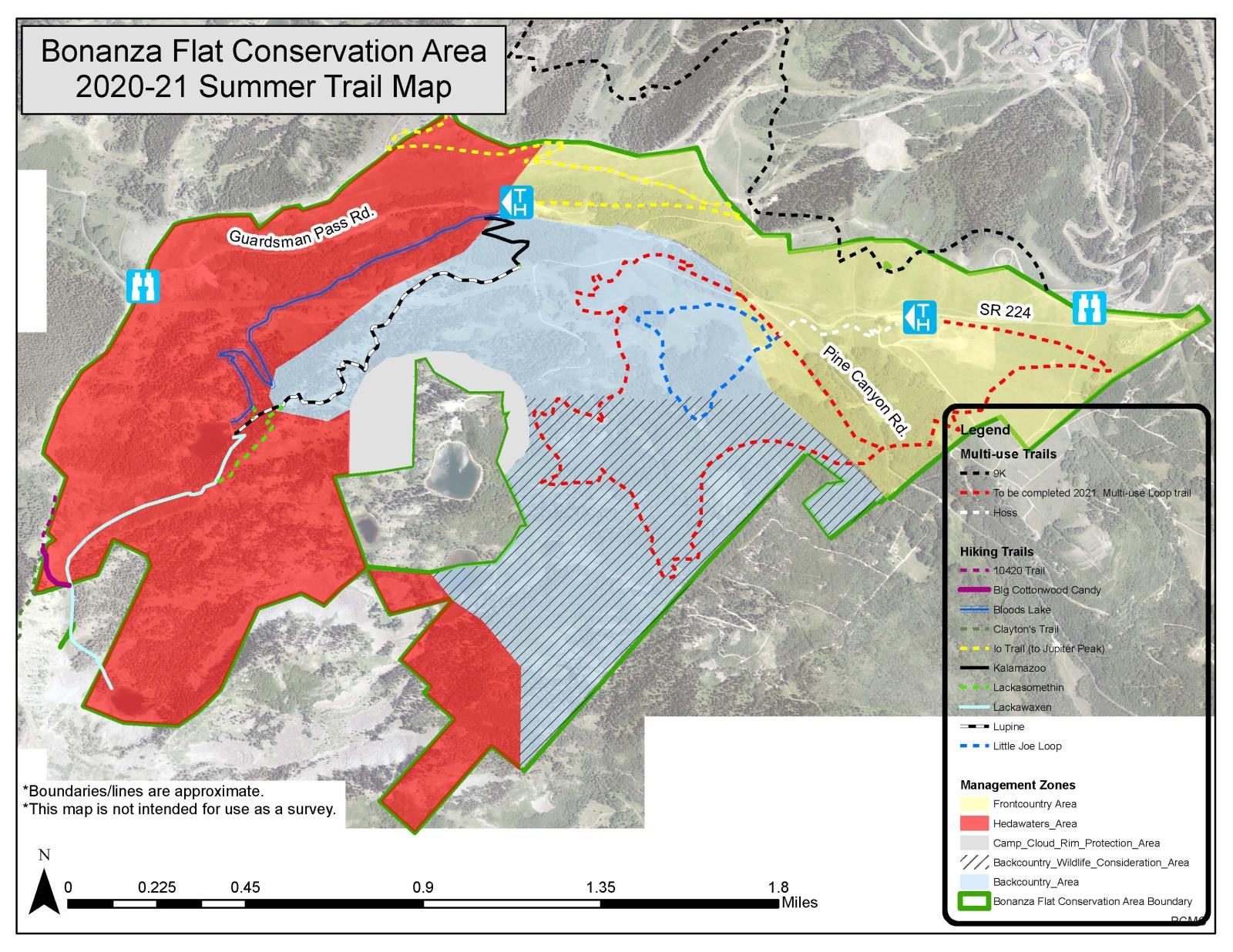 Bonanza Flat Conservation Area: Summer Trail Map 2020-21