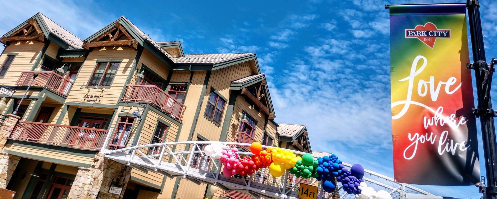 Rainbow Flag and Balloons on Main Street